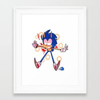 sonic Framed Art Prints featuring sonic by Kai L.