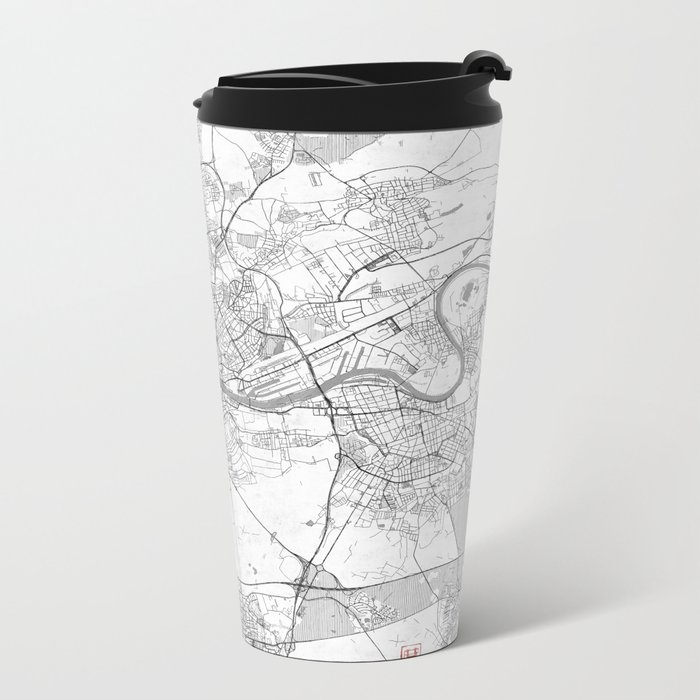 Frankfurt Map Line Metal Travel Mug