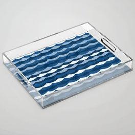 Classic Blue Wave Pattern Acrylic Tray