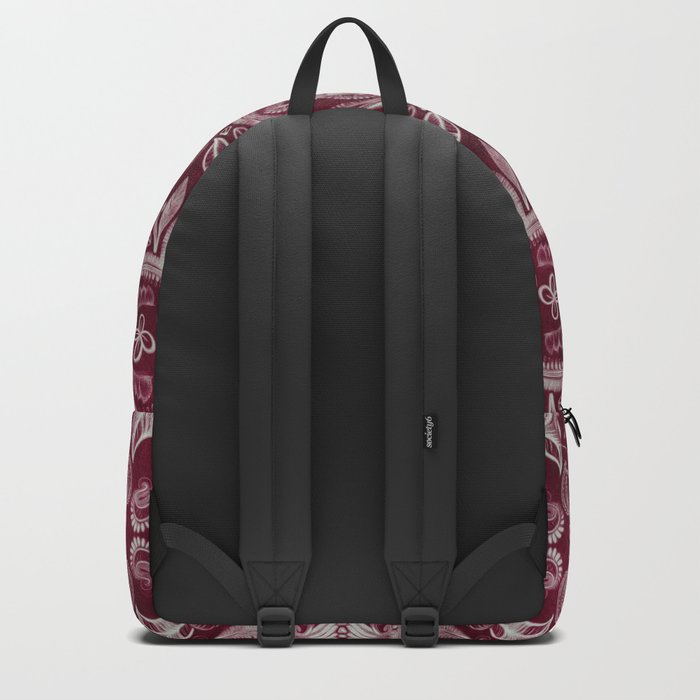 Dark cherry red dirty denim textured boho pattern Backpack