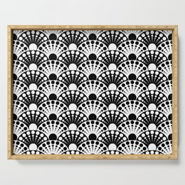black and white art deco inspired fan pattern Serving Tray