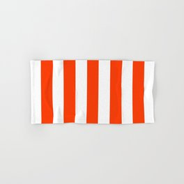 Coquelicot orange - solid color - white vertical lines pattern Hand & Bath Towel