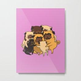 Pugs Group Hug Metal Print