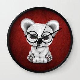 Cute Polar Bear Cub with Eye Glasses on Red Wall Clock