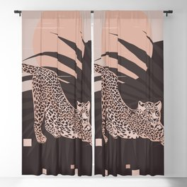 Nomade Night / Cheetah and Palm Leaf Blackout Curtain