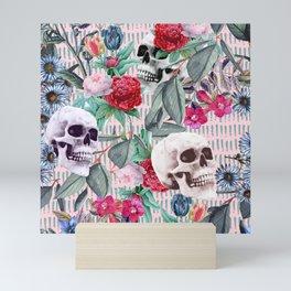 Flowers and Skulls (Pink) Mini Art Print