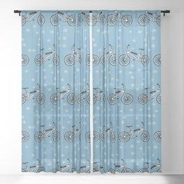 Bicycles pattern Sheer Curtain