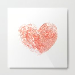 Glitter Cute Strawberry Red Heart Metal Print