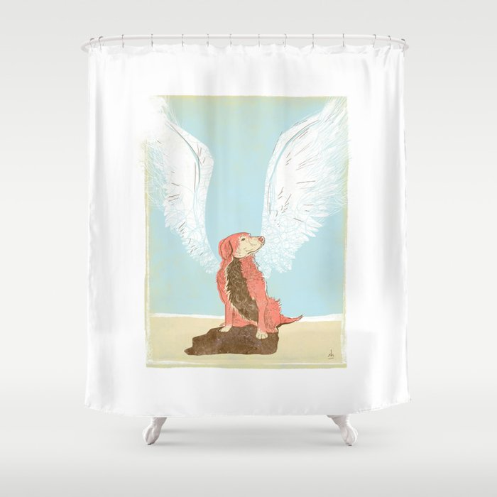 All Dogs Go To Heaven Golden Retriever Shower Curtain By Dushan