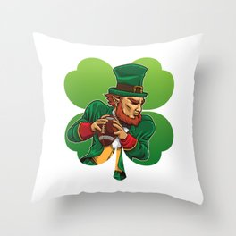 American Football Leprechaun - Lucky Irish Throw Pillow