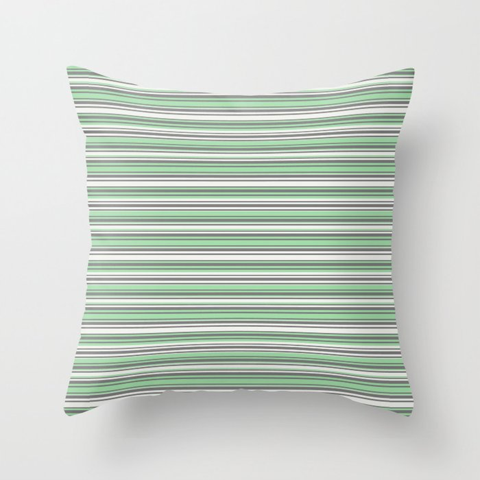Pastel Mint Green and Gray Horizontal Line 4 on Linen White Pairs to 2020 Color of the Year Neo Mint Throw Pillow