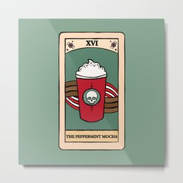 The Peppermint Mocha - Winter Christmas Coffee Tarot Card Metal Print
