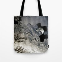 surrealism Tote Bags featuring Sky Surrealism. by Jess Noelle