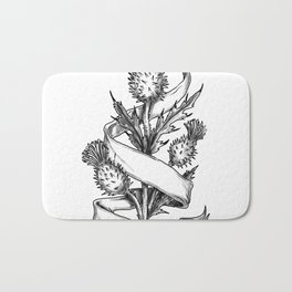 Scottish Thistle With Ribbon Sketch Bath Mat