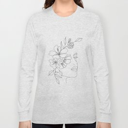 Minimal Line Art Woman Face II Long Sleeve T-shirt