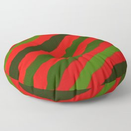 Merry Red Green Holiday Stripes Floor Pillow