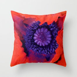 Macro Poppy Throw Pillow
