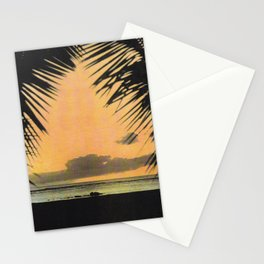 Waikiki Beach Sunset Through the Coconut Trees Stationery Cards