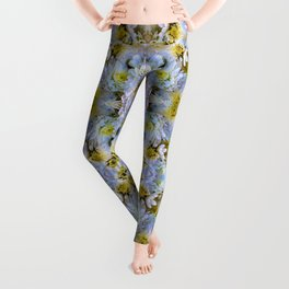Bue Yellow Pastel Chrysanthemums Design Leggings