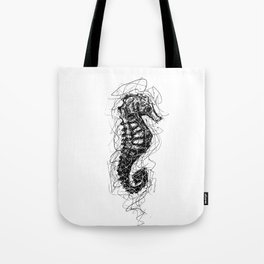 Sea Horse Scribble Tote Bag