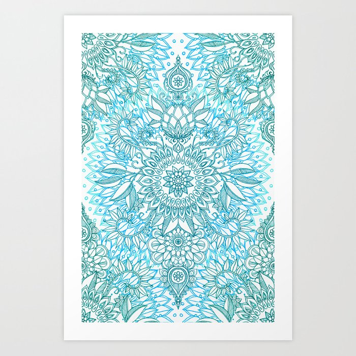 Turquoise Blue, Teal & White Protea Doodle Pattern Art Print