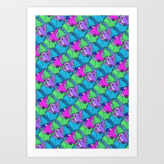 Tessellated Parrots Pink Art Print