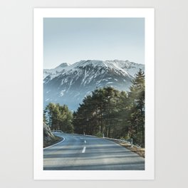 The road down the mountains in Austria. Art Print