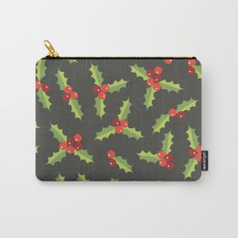 Christmas Holly Berries and Leaves  Carry-All Pouch