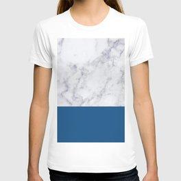 CLASSIC BLUE MARBLE GEOMETRIC COLOR BLOCK T-shirt