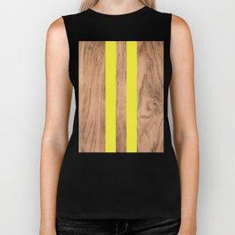 Wood Grain Stripes - Yellow #255 Biker Tank