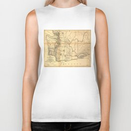 Vintage Map of Washington State (1866) Biker Tank