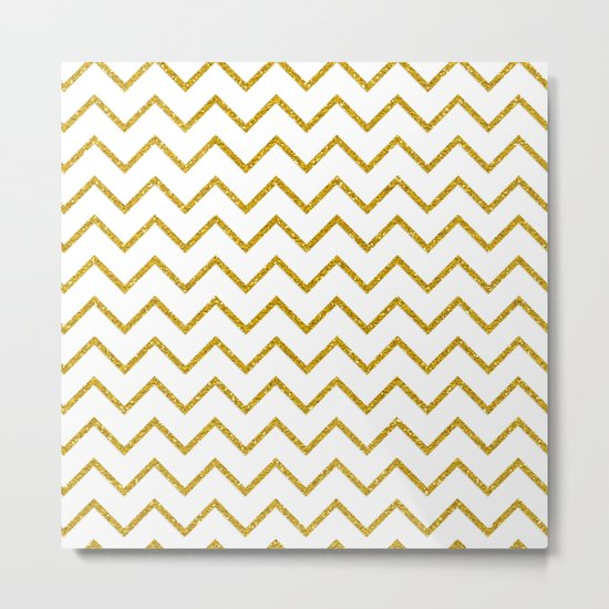 Gold glitter chevron on white - Luxury pattern Metal Print