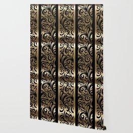 Gold and Black Swirl Pattern Wallpaper