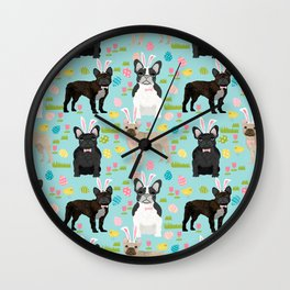 French Bulldog easter bunny spring dog breed pattern frenchies must have Wall Clock