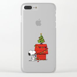 Snoopy Christmas Tree In Home Clear iPhone Case