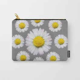 WHITE SHASTA DAISY FLOWERS  DECORATIVE GREY ART Carry-All Pouch