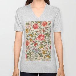 Tiger Lily Vintage Chintz Floral Pattern Unisex V-Neck