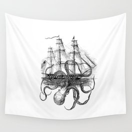 Octopus Attacks Ship on White Background Wall Tapestry