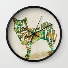 Shiba Inu Dog Typography Art / Colorful Watercolor Painting - Portrait Wall Clock