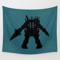 bioshock Wall Tapestries featuring Big Daddy from Bioshock Silhouette by Jessica Wray