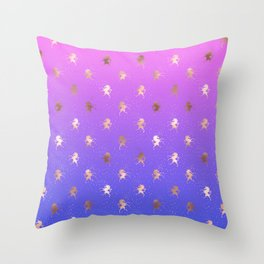 Pink Purple Blue Gradient With Rose Gold Unicorn Pattern Throw Pillow