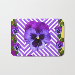 ABSTRACT YELLOW  CONTEMPORARY LILAC PURPLE PANSIES Bath Mat