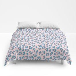 Leopard Print - Peachy Blue Comforters