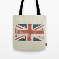 union jack Tote Bags featuring Union Jack by David Hand