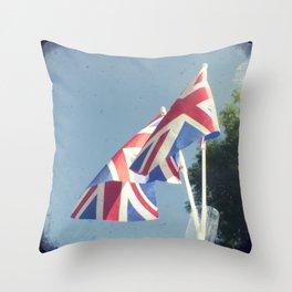 Flags - Union Jacks against a blue sky Throw Pillow
