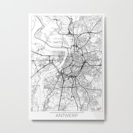 Antwerp Map White Metal Print