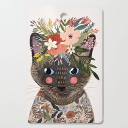 Siamese Cat with Flowers Cutting Board