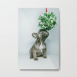 Christmas Pup Under Mistletoe (Color) Metal Print