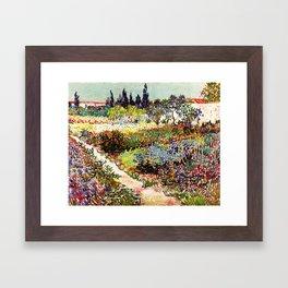 Vincent Van Gogh Flowering Garden Framed Art Print