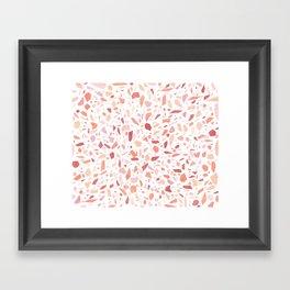Terrazzo memphis vintage pink yellow orange red Framed Art Print
